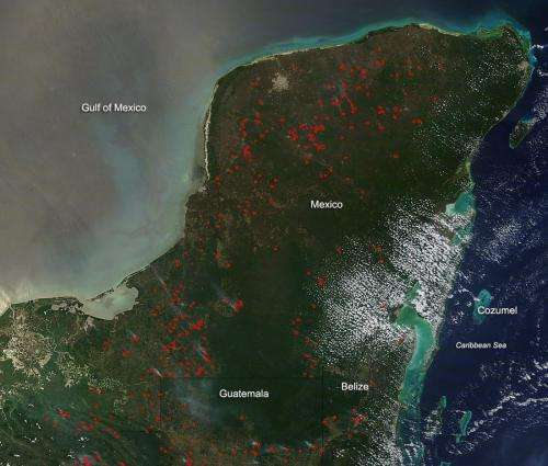 Fires in the Yucatan Peninsula in April 2014