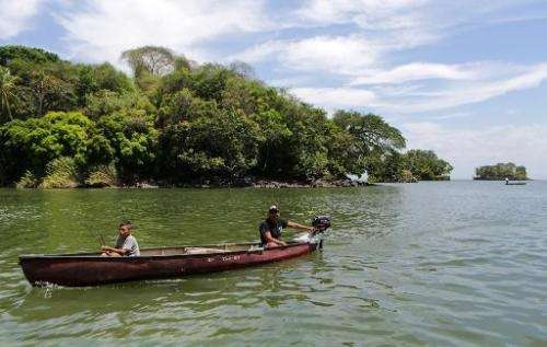 Fishermen are seen around the islets on Lake Nicaragua, also known as the Cocibolca on April 24, 2014