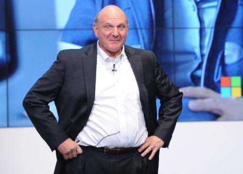 Former Microsoft chief executive Steve Ballmer attends a press conference in Berlin, on November 7, 2013