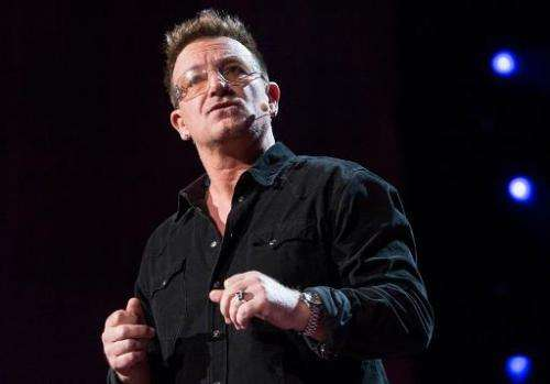 "Former TED Prize winner Bono speaks at TED2013: ""The Young, The Wise, The Undiscovered"" in Long Beach on February 26,"