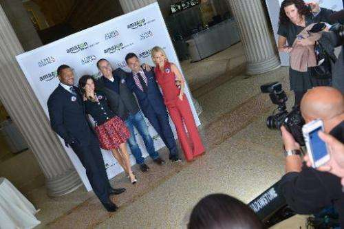(From L) Michael Strahan, Jessica Seinfeld, Jerry Seinfeld, Mark Consuelos and Kelly Ripa attend Amazon Studios Premiere Screeni
