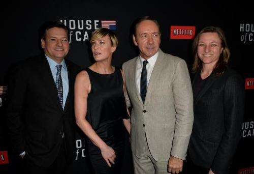 (From L) Netflix chief content officer Ted Sarandos, actress Robin Wright, executive producer/actor Kevin Spacey and Netflix Vic