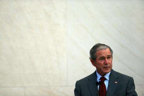 George W. Bush speaks during a immigration naturalization ceremony held at the George W. Bush Presidential Center on July 10, 20