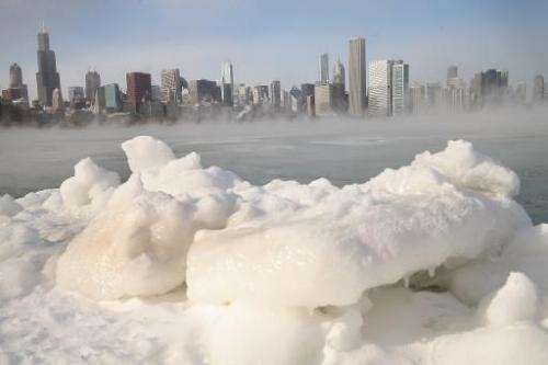 Ice builds up along Lake Michigan as temperatures dipped well below zero on January 6, 2014 in Chicago, Illinois