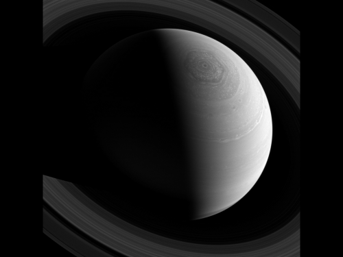 Image: Saturn's rings and hexagonal polar storm