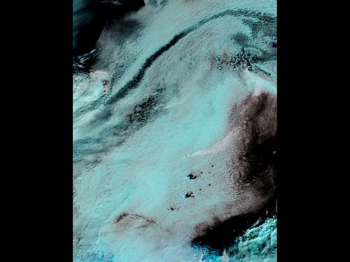 Image: Volcanic plume over Southern Atlantic revealed through false-color imagery