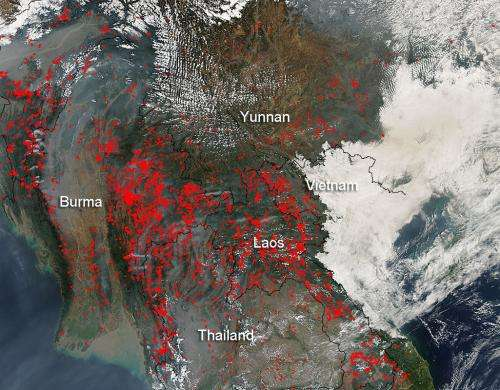 Indochina agricultural fires still ongoing