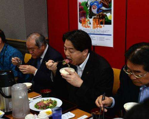 Japanese Agriculture Minister Yoshimasa Hayashi (2nd R) eats whale meat with Japanese lawmakers at his ministry in Tokyo on June
