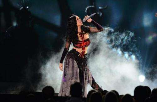 Katy Perry performs during the 56th Grammy Awards at the Staples Center in Los Angeles, California, January 26, 2014