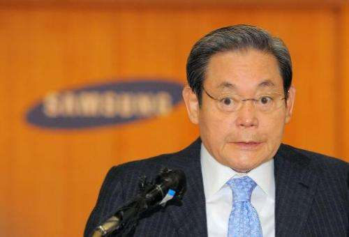 Lee Kun-Hee, chairman of South Korea's largest group Samsung, speaks during a press conference at the group's headquarters in Se