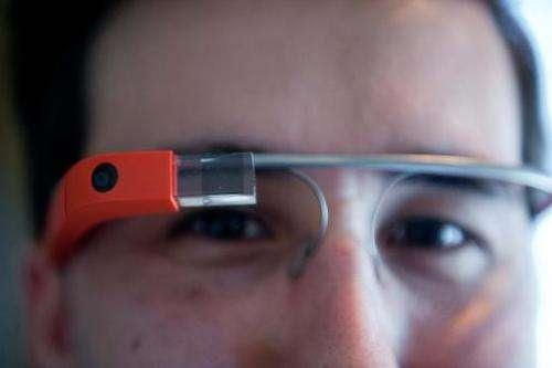 Man demonstrates Google Glass in Washington, DC, on April 4, 2014