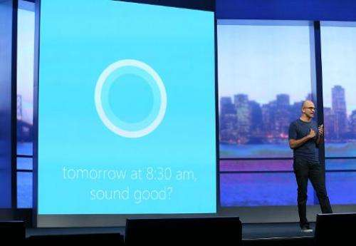 Microsoft CEO Satya Nadella demonstrates Cortana, Windows Phones' new digital personal assistant, at the Microsoft Build develop