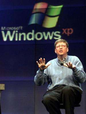 Microsoft chairman and chief software architect Bill Gates addresses the media about Windows XP, on February 13, 2001 in Seattle