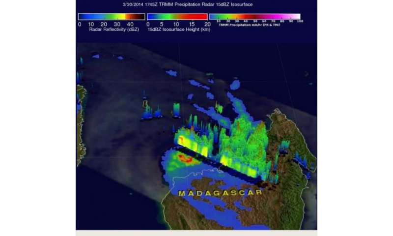 NASA caught Tropical Cyclone Hellen's rainfall near peak