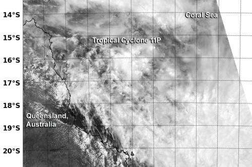 NASA-NOAA satellite sees Tropical Cyclone 11P headed for Queensland