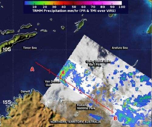 NASA sees rainfall from System 94S over Australia's Arnhem region