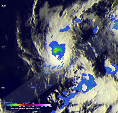 NASA's TRMM and Aqua satellites peer into Tropical Storm Amanda