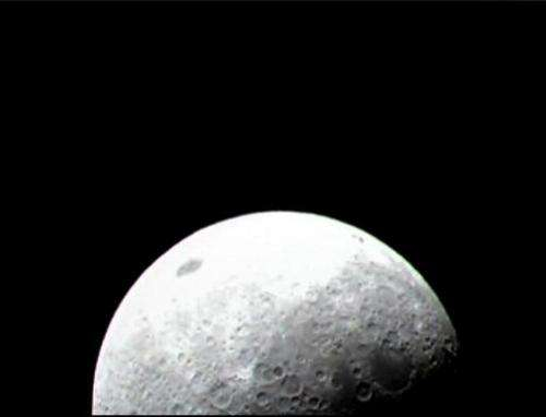 One of the first images released from NASA's Lunar Crater Observation and Sensing Satellite (LCROSS) using the visible light cam
