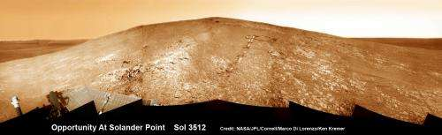 Opportunity rover starts 2nd decade by spectacular mountain summit and mineral goldmine