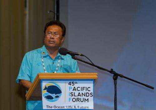 Palau President Tommy Remengesau delivers a speech at the opening night of the 45th Pacific Islands Forum in Palau on July 29, 2