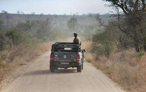Park rangers patrol a section of Kruger National Park, in South Africa, scouting for possible poachers on July 31, 2014