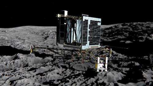 Picture released by European Space Agency on December 20, 2013, of an artist's impression of Rosetta's lander Philae on the surf