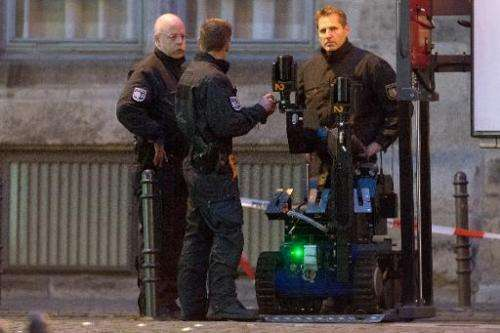 Police prepare a bomb detection robot on December 2, 2014 in Cologne