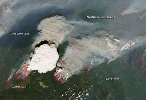 Pyrocumulonibus cloud rises up from Canadian wildfires