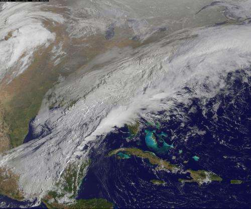 Satellite movie shows a Mid-Atlantic St. Patrick's Day snow