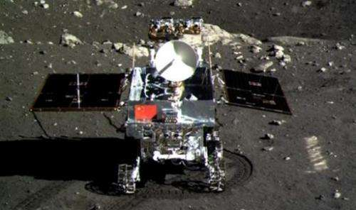 Screen grab taken from CCTV footage shows of the Jade Rabbit moon rover taken by the Chang'e-3 probe lander on December 15, 2013
