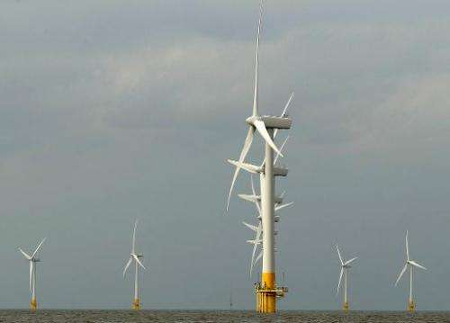 Scroby Sands wind farm off the coast of Norfolk, England, pictured on August 27, 2008