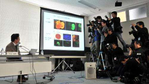 Shunsuke Ishii, head of Riken's probe committee, at a press conference in Tokyo on March 14, 2014
