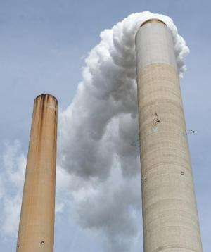 Smoke stacks at American Electric Power's (AEP) Mountaineer coal power plant in West Virginia on 