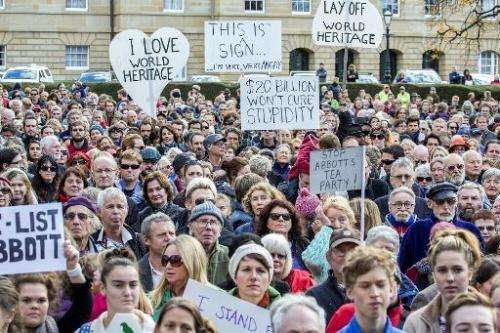 Some 5,000 Tasmanians rally to oppose the delisting of Tasmania's World Heritage forests in Hobart,  June 14, 2014