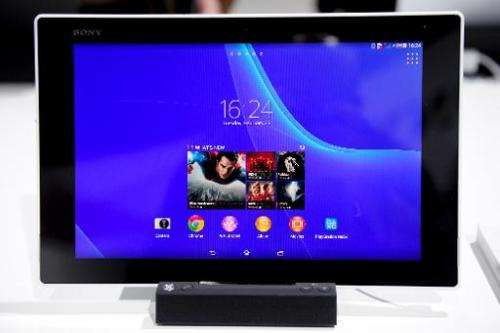 Sony's Xperia tablet Z2, seen displayed in Barcelona, on February 25, 2014, on the second day of the Mobile World Congress