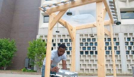 Student's six-foot water and solar-powered lens purifies polluted water