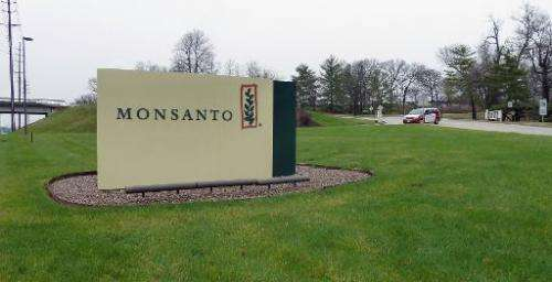 The entrance sign is seen at the headquarters of Monsanto, at Creve Coeur in St. Louis, Missouri, on April 7, 2014