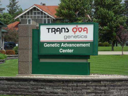 The entrance to the labs of the Genetic Advancement Center of Trans Ova Genetics is seen in Sioux Center, Iowa, on June 16, 2014