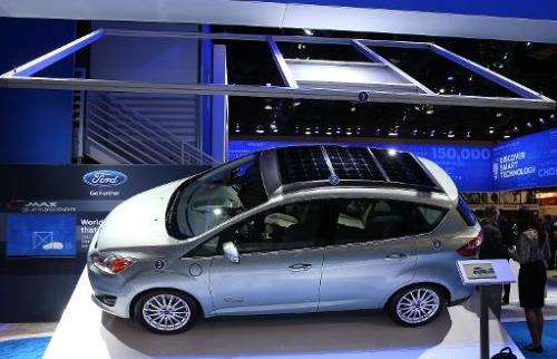 The Ford C-Max solar energy concept car is displayed at the 2014 International CES at the Las Vegas Convention Center on January