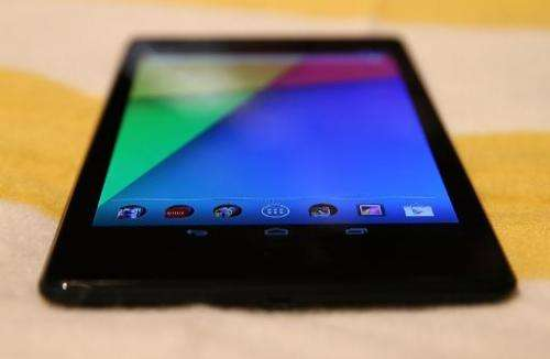 The Google Nexus 7 tablet, during a Google event on July 24, 2013 in San Francisco, California