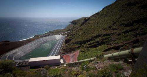 The lower reservoir and hydropower station at the Gorona power station on El Hierro island on March 28, 2014