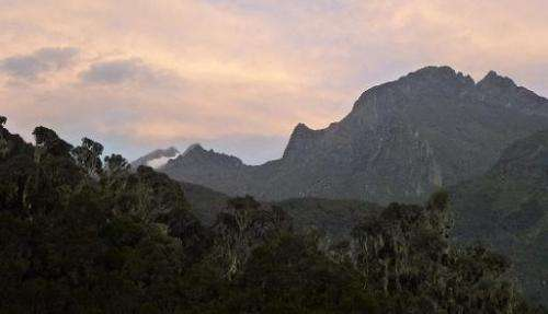 The Rwenzori mountain range on the border between Uganda and the Democratic Republic of Congo on March 8, 2014