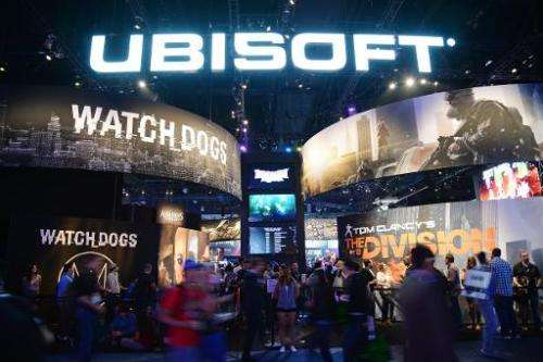 The Ubisoft display at the Electronic Entertainment Expo in Los Angeles, California, on June 12, 2013