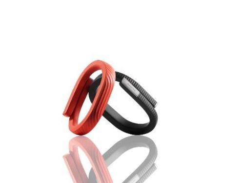 The UP24 wristband introduced November 13, 2013 by Jawbone tracks how active wearers are or how well they are sleeping or eating