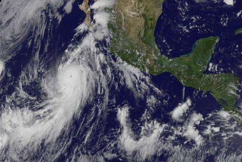 This August 24, 2014 1745 UTC NASA GOES satellite image shows Hurricane Marie, the eighth of the season, in the eastern Pacific