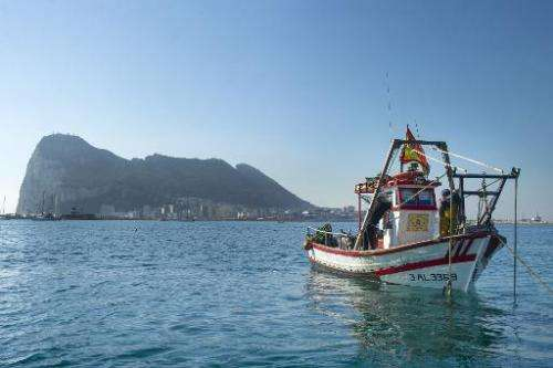 This photo was taken on August 16, 2013 of a boat far from the area where Gibraltar dropped controversial artificial reefs that