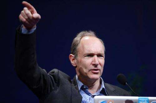 Tim Berners-Lee, the man credited with inventing the world wide web, gives a speech on April 18, 2012 in Lyon, France, on April