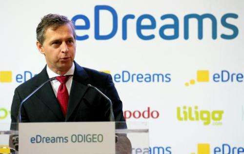 Travel group eDreams Odigeo, Go Voyages, Opodo and eDreams founder Javier Perez-Tenessa speaks during a press conference in Madr