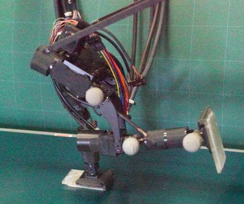 Two-legged robot able to run without ZMP control (w/ Video)