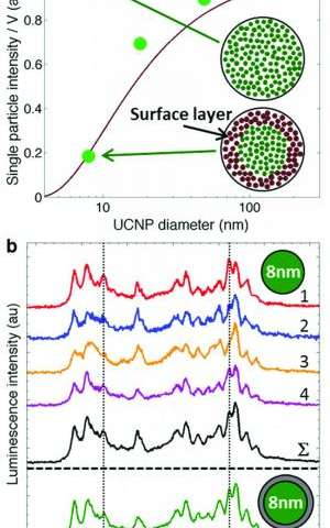 UCNP size-dependent luminescence intensity and heterogeneity